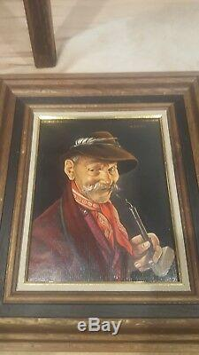 Vintage Original Oil Portrait Painting Pair Signed M Relmes Old Man German