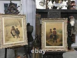 Vintage Pair Arnold Leon Oil On Panel Signed Paintings Winter & Summer Framed