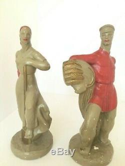 Vintage Pair Mid Century 1940s Frederick Weinberg Russian Peasant WPA Sculptures