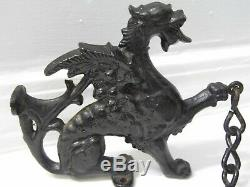 Vintage Pair of Cast Iron Gothic Dragon Griffin Gryphon Architectural Salvage
