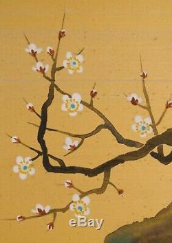 Vintage Pair of Large Chinese Paintings on Gold Silk signed mid century