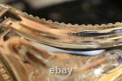 Vintage RARE TIFFANY & CO INTERTWINED DOLPHIN FISH Pair CRYSTAL CANDLESTICKS
