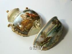 Vintage Romantic Couple Portrait & Swan Scene Porcelain Lavabo Signed F Boucher