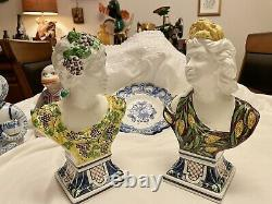 Vintage Signed Pair Greek Bacchus God Demeter Goddess Bust Statue Glazed Italy