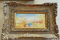Vintage Stephan Sideris Framed MCM Painting Small Landscape Signed (2 of Pair)