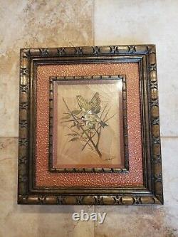 Vintage pair of framed original oil paintings of birds on leaf paper by Sommai P