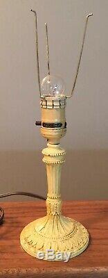 Vtg H. G. McFaddin & Co. Bellova Boudoir Lamps Pair (2) With Czech Shades Signed
