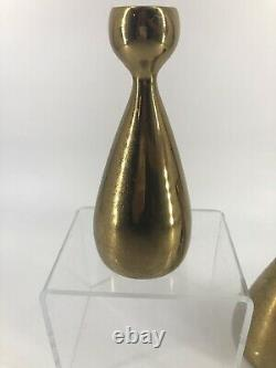 Vtg Jenfred Ware Brass Candlesticks Pair 2 Ben Seibel Signed Mid Century Modern