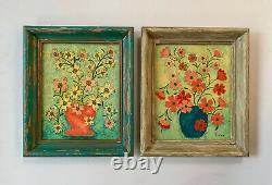 Vtg Multimedia Painting Floral Still Life Original Art Pair Signed Thelma