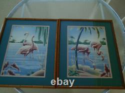 Vtg Pair Turner Bamboo Framed FLAMINGO Art Print Mid Century Lithograph Tropical
