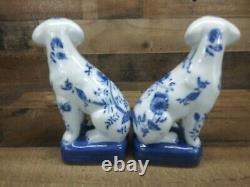 WONG LEE 1895 Porcelain Pair Cobalt Blue Floral Mantle Book End Dog Statues 8.5