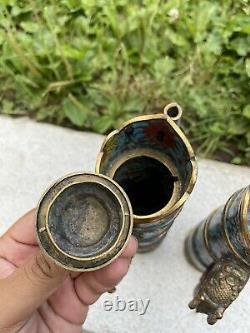 Wonderful Rare Pair of Chinese Gilt Copper Cloisonne Enamel Tibetan Ewers 9 In