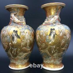 Wonderful large signed pair of antique Japanese satsuma vases Meiji c 1880 10