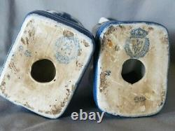 Wong Lee 1895 Porcelain Pair of Blue & White Floral Mantle Book End Dog Statues