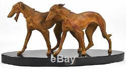 XL Art deco 1930 SCALI signed Pair couple greyhounds whippets spelter bronze