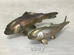 Y2490 OKIMONO Koi Fish pair set signed metal Japan antique interior home decor